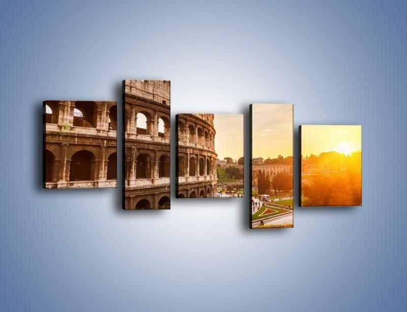Obraz na płótnie – Zachód słońca nad Rzymem – pięcioczęściowy AM763W7