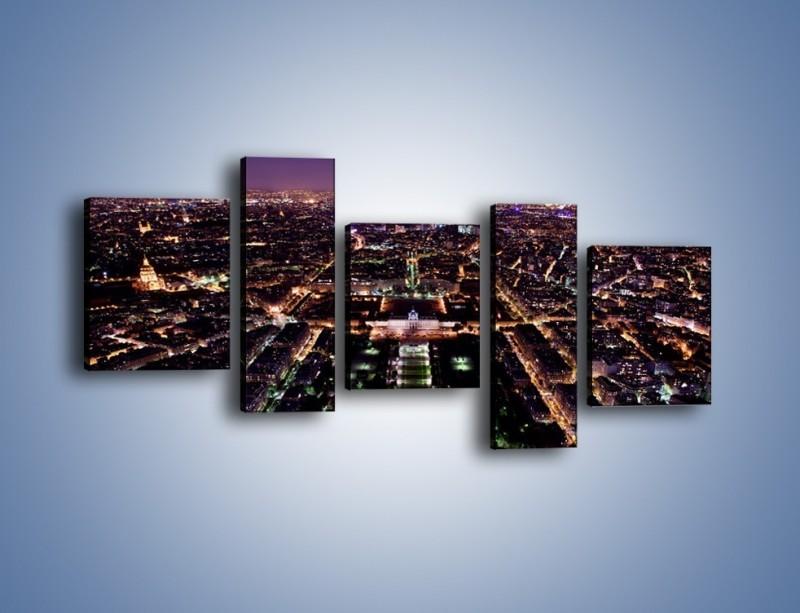 Obraz na płótnie – Panorama Paryża z Wieży Eiffla – pięcioczęściowy AM764W7