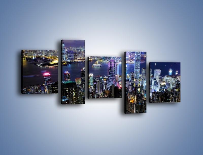 Obraz na płótnie – Nocna panorama Hong Kongu – pięcioczęściowy AM772W7
