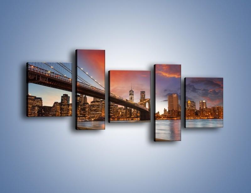 Obraz na płótnie – Zmierzch nad Mostem Brooklińskim – pięcioczęściowy AM793W7
