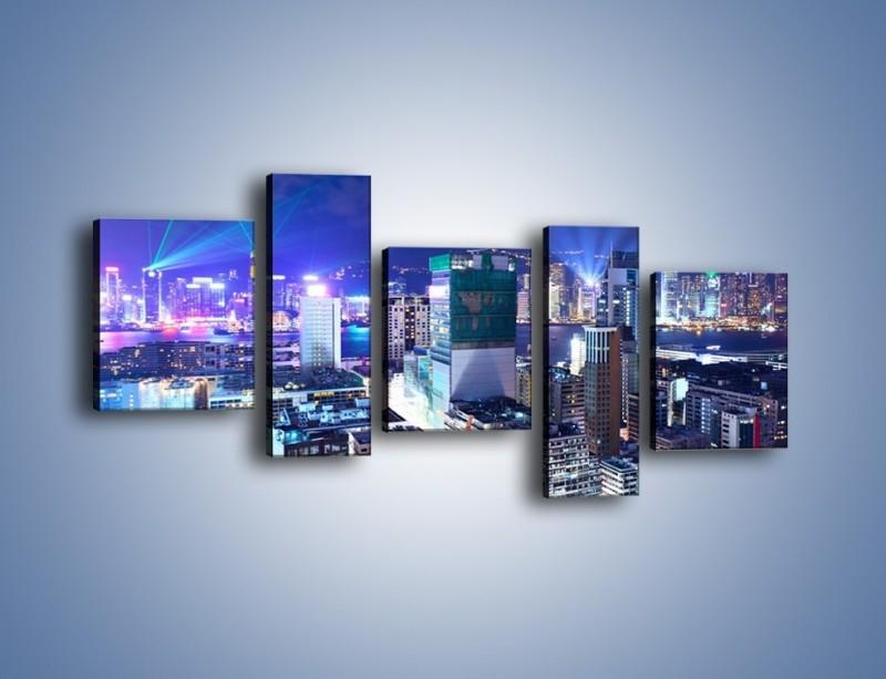 Obraz na płótnie – Pokaz laserów nad Hong Kongiem – pięcioczęściowy AM796W7