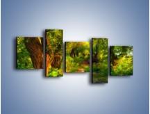 Obraz na płótnie – Drewniana kładka przez las – pięcioczęściowy GR007W7