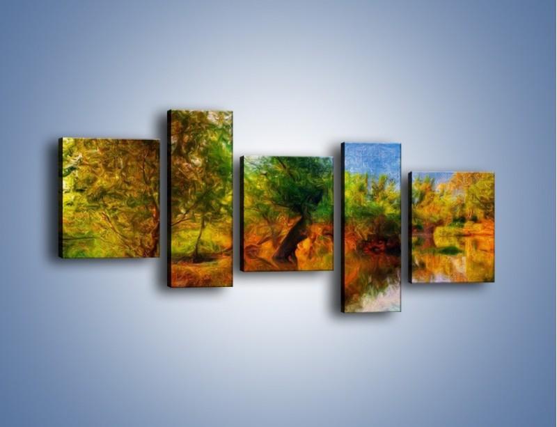 Obraz na płótnie – Drzewa w wodnym lustrze – pięcioczęściowy GR010W7
