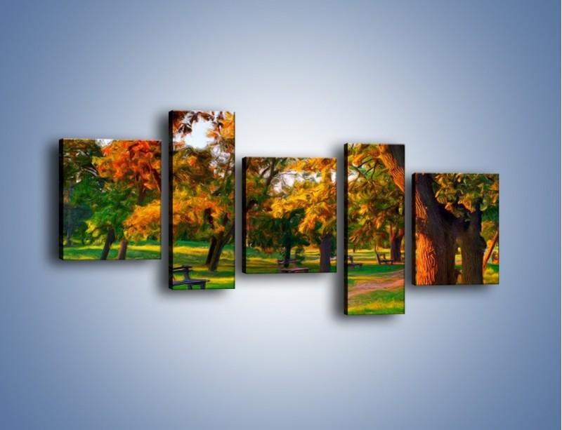 Obraz na płótnie – Ławeczka w parku – pięcioczęściowy GR011W7