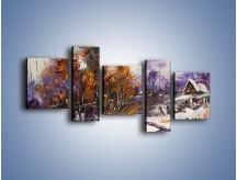 Obraz na płótnie – Domki zimową porą – pięcioczęściowy GR023W7