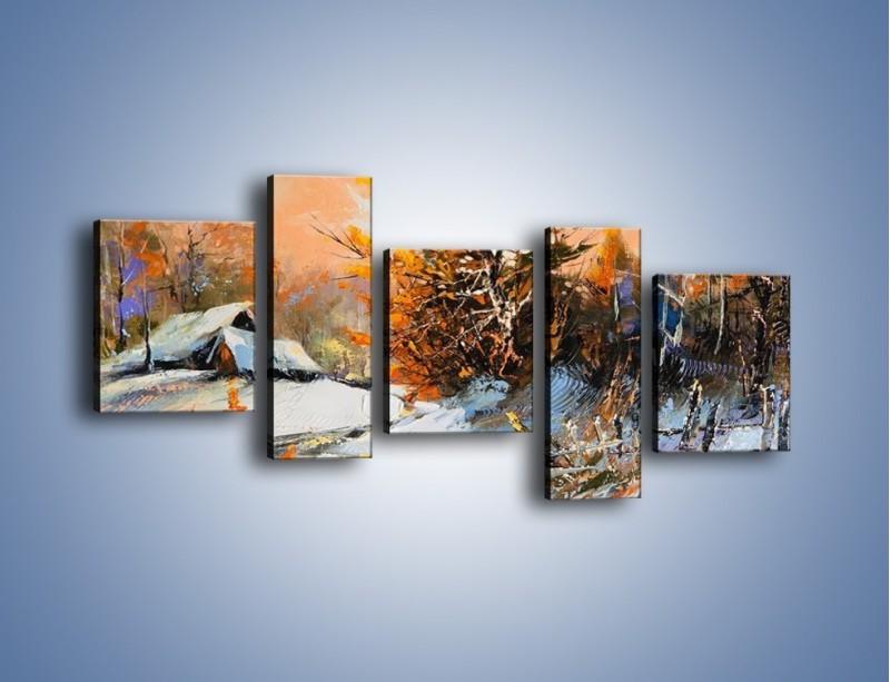 Obraz na płótnie – Zimowy klimat na wsi – pięcioczęściowy GR027W7