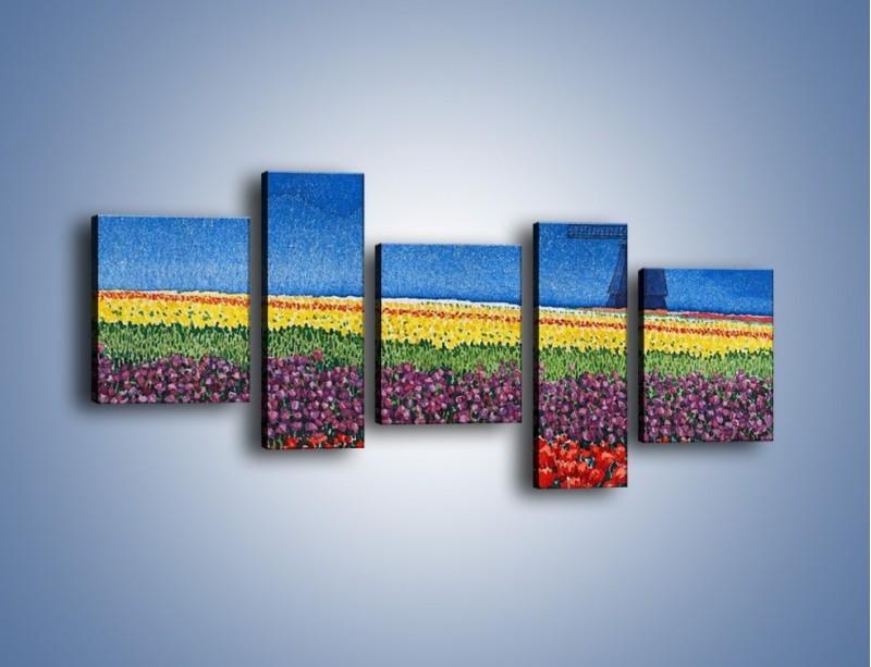 Obraz na płótnie – Spacer przez kolorowe maki – pięcioczęściowy GR049W7