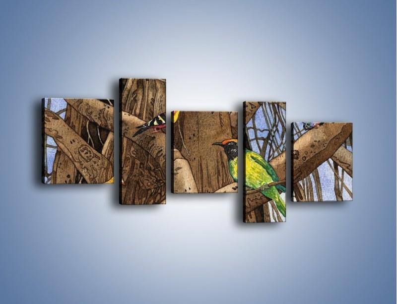 Obraz na płótnie – Mali przyjaciele na drzewie – pięcioczęściowy GR050W7