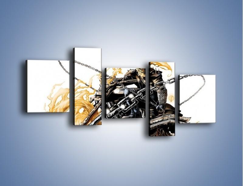 Obraz na płótnie – Mroczna postać na motorze – pięcioczęściowy GR167W7