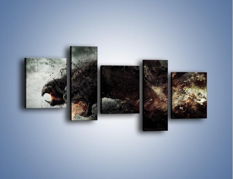 Obraz na płótnie – Groźny podmuch potworów – pięcioczęściowy GR174W7