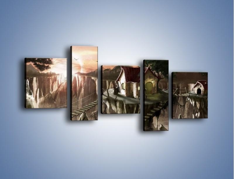 Obraz na płótnie – Domki nad przepaścią – pięcioczęściowy GR283W7