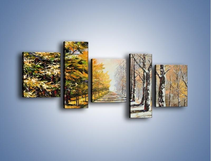 Obraz na płótnie – Trochę jesieni trochę zimy – pięcioczęściowy GR292W7