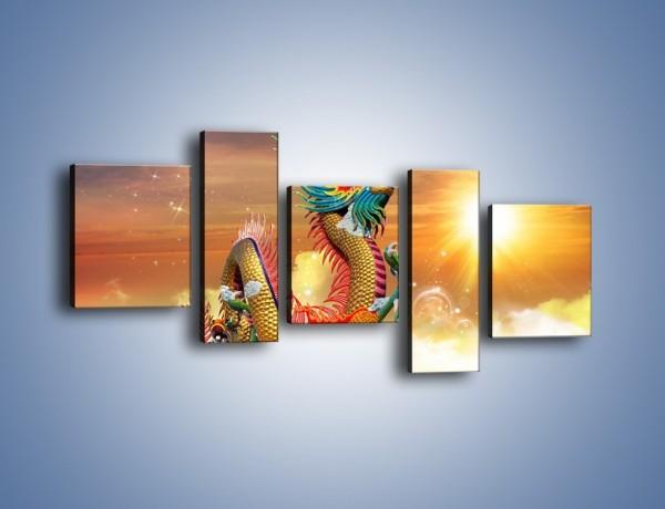 Obraz na płótnie – Smok cały w kolorach – pięcioczęściowy GR312W7