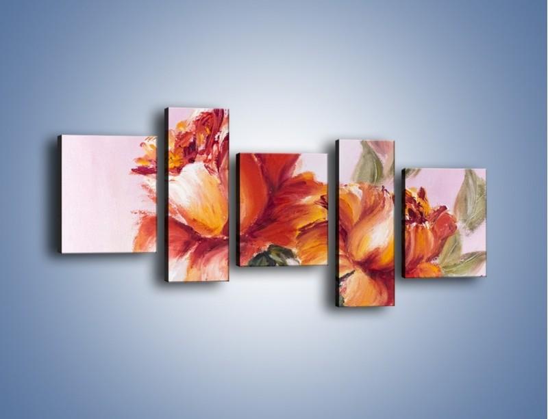 Obraz na płótnie – Kwiaty na płótnie malowane – pięcioczęściowy GR322W7