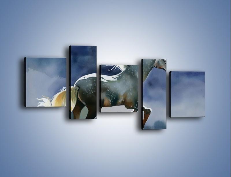 Obraz na płótnie – Bieg z koniem przez noc – pięcioczęściowy GR339W7