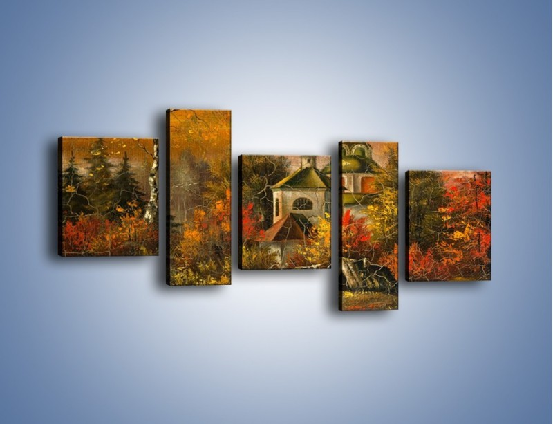 Obraz na płótnie – Kaplica późną jesienią – pięcioczęściowy GR369W7