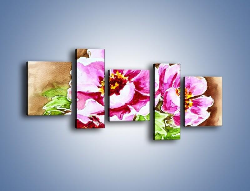 Obraz na płótnie – Rozwinięte gerbery na gałązce – pięcioczęściowy GR568W7