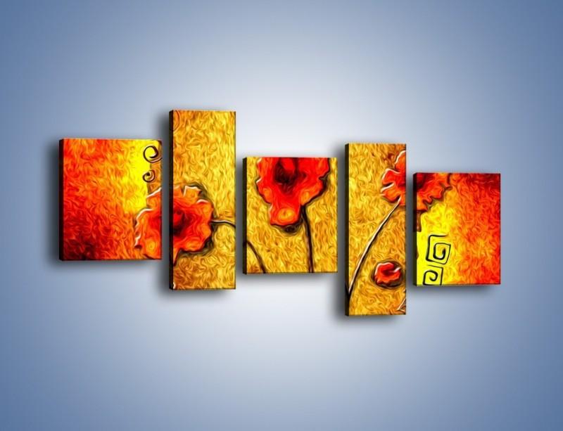 Obraz na płótnie – Maki w ogniu – pięcioczęściowy GR572W7