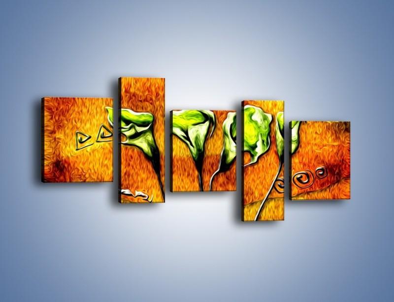 Obraz na płótnie – Zielone kalie w ogniu – pięcioczęściowy GR635W7