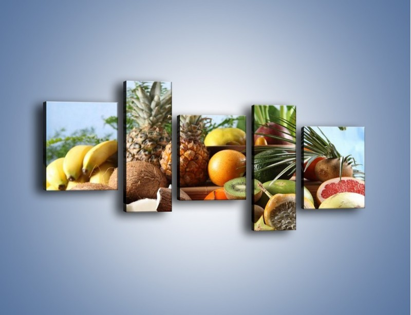Obraz na płótnie – Mix owocowy na drewnianym stole – pięcioczęściowy JN009W7