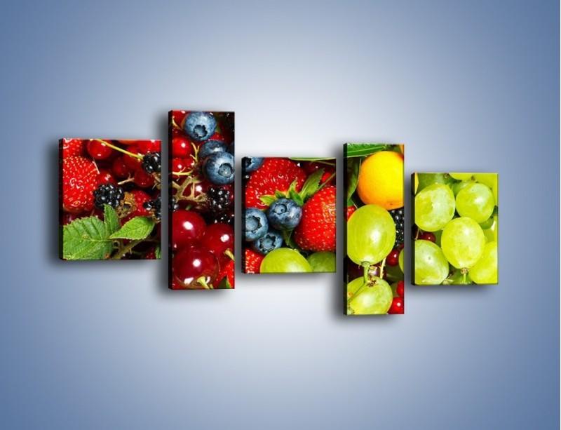 Obraz na płótnie – Wymieszane kolorowe owoce – pięcioczęściowy JN037W7