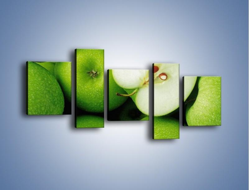 Obraz na płótnie – Zielone jabłuszka – pięcioczęściowy JN039W7