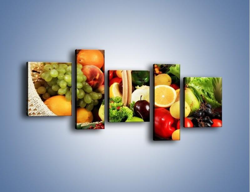 Obraz na płótnie – Kosz pełen owocowo-warzywnego zdrowia – pięcioczęściowy JN059W7