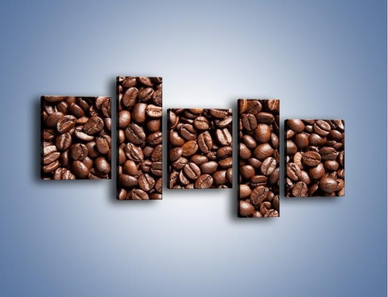 Obraz na płótnie – Ziarna świeżej kawy – pięcioczęściowy JN061W7