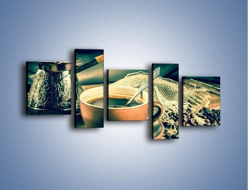Obraz na płótnie – Czarna kawa arabica – pięcioczęściowy JN064W7