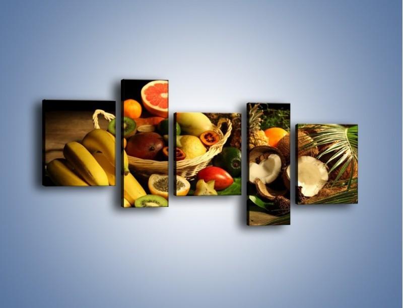 Obraz na płótnie – Kosz egzotycznych owoców – pięcioczęściowy JN074W7
