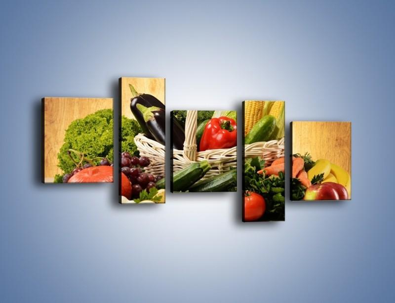 Obraz na płótnie – Kosz pełen warzywnych witamin – pięcioczęściowy JN081W7