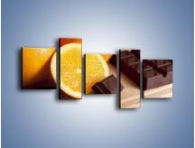 Obraz na płótnie – Czekoladowo-pomarańczowa rozkosz – pięcioczęściowy JN094W7