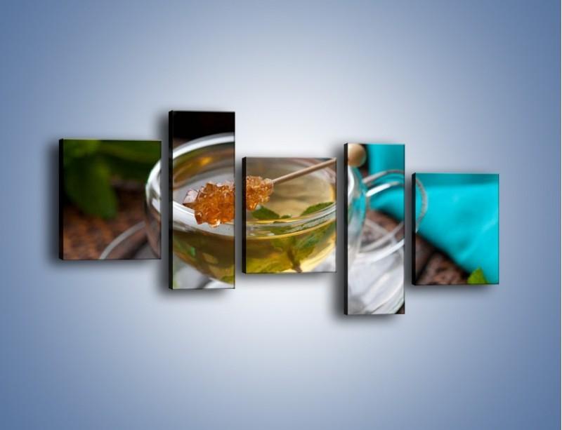 Obraz na płótnie – Oczyszczająca zielona herbata – pięcioczęściowy JN104W7