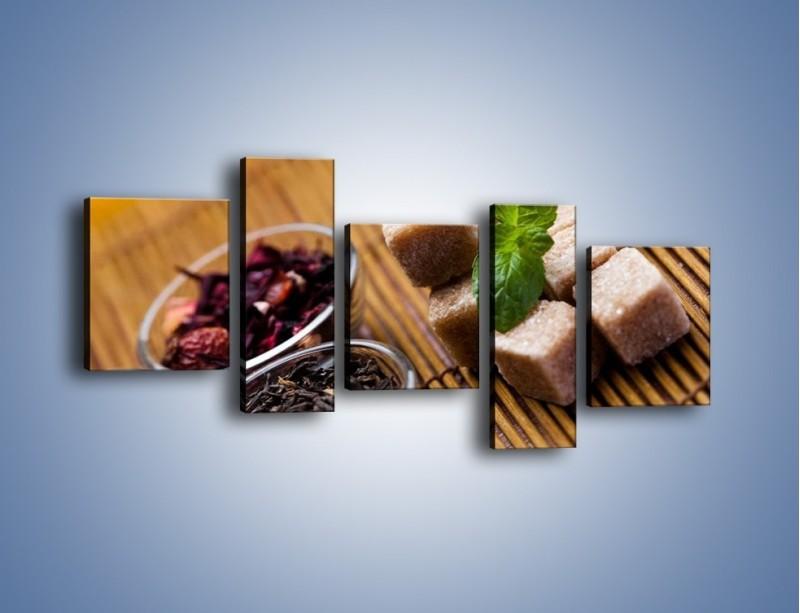 Obraz na płótnie – Ususzone bogactwa natury do herbaty – pięcioczęściowy JN105W7