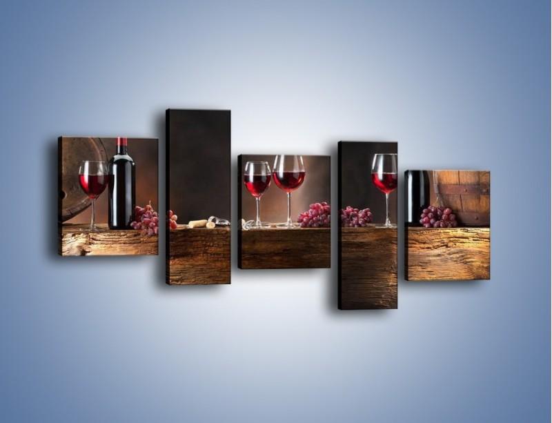 Obraz na płótnie – Beczuszki czerwonego wina – pięcioczęściowy JN142W7
