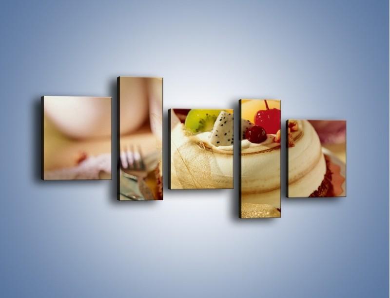 Obraz na płótnie – Bezowy torcik owocowy – pięcioczęściowy JN256W7