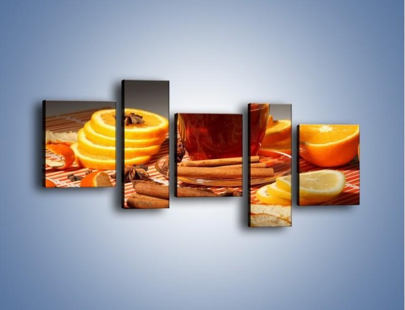 Obraz na płótnie – Imbirowo-pomarańczowe rozluźnienie – pięcioczęściowy JN260W7