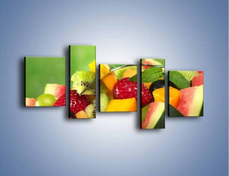 Obraz na płótnie – Arbuzowa misa z owocami – pięcioczęściowy JN274W7