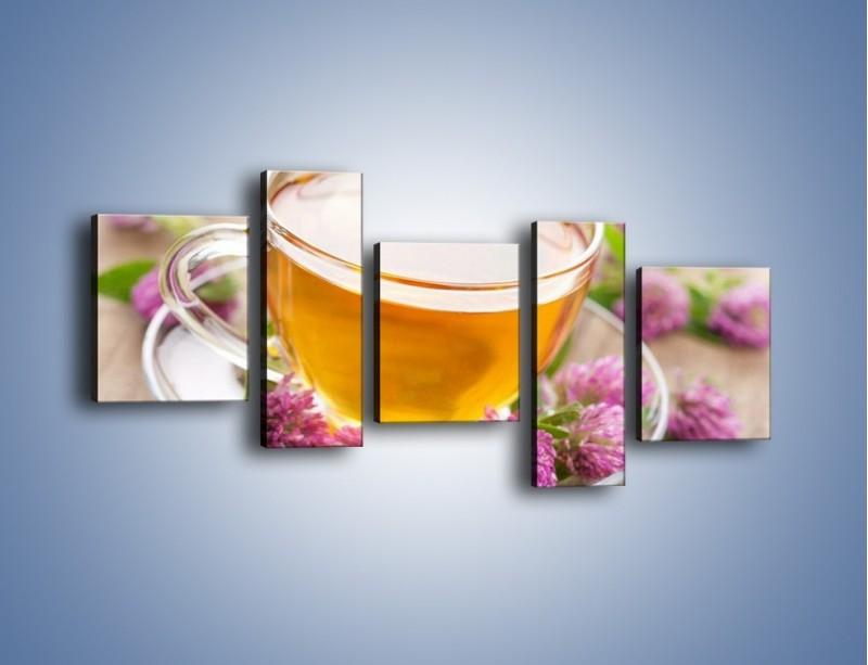 Obraz na płótnie – Herbata z kwiatami – pięcioczęściowy JN283W7