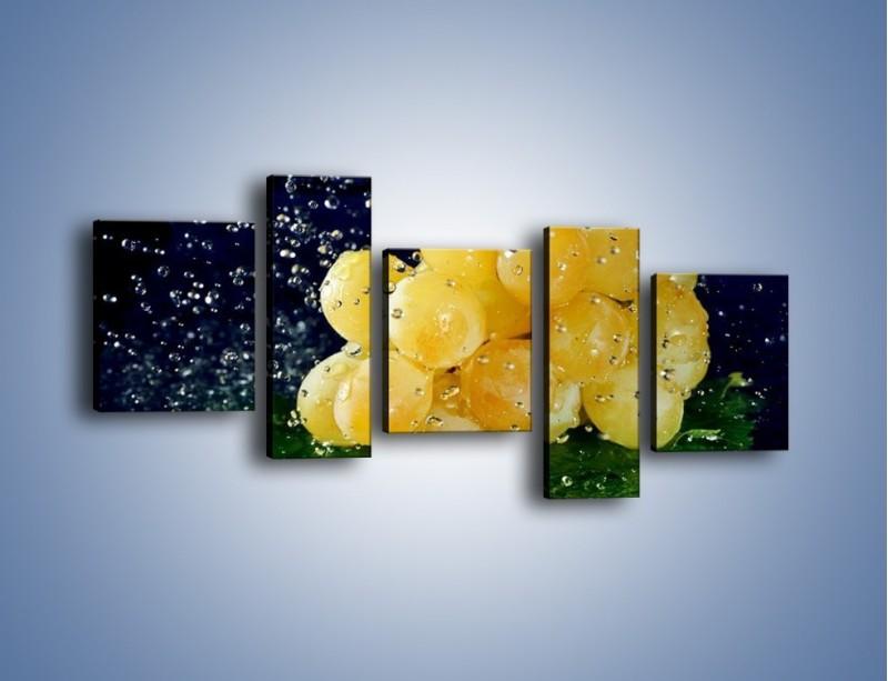 Obraz na płótnie – Słodkie winogrona z miętą – pięcioczęściowy JN286W7