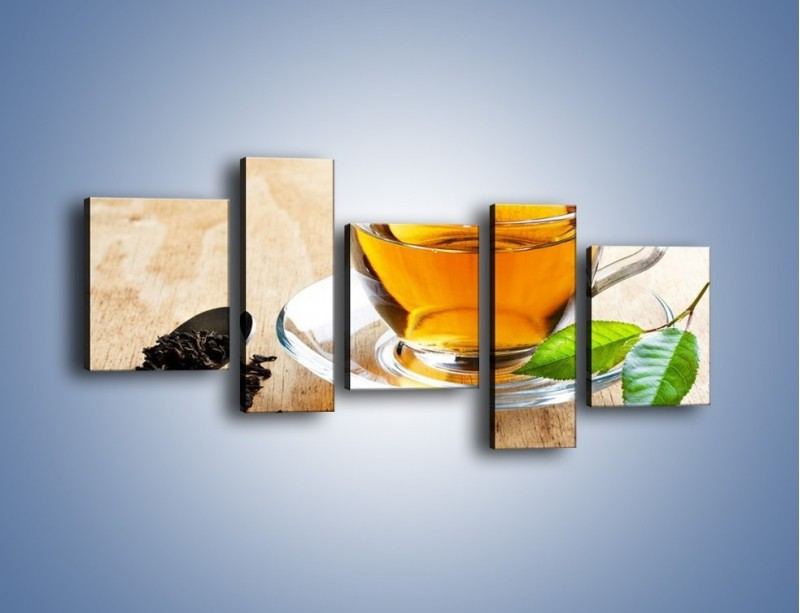 Obraz na płótnie – Listek mięty dla orzeźwienia herbaty – pięcioczęściowy JN290W7