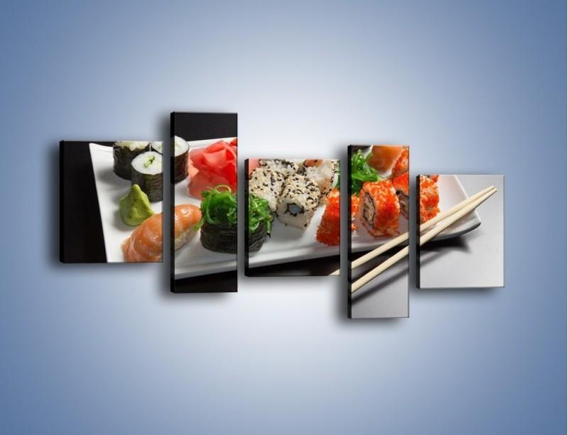 Obraz na płótnie – Kuchnia azjatycka na półmisku – pięcioczęściowy JN295W7