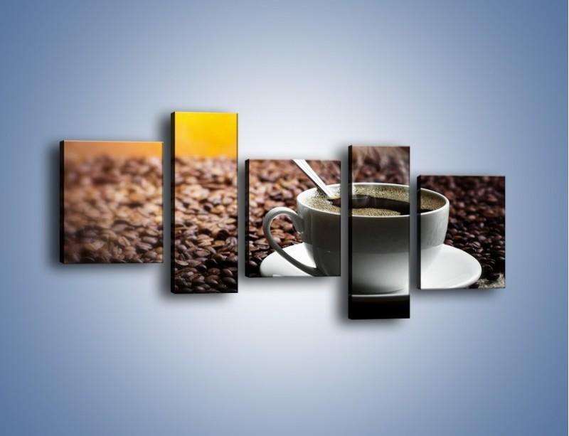 Obraz na płótnie – Aromatyczna filiżanka kawy – pięcioczęściowy JN298W7