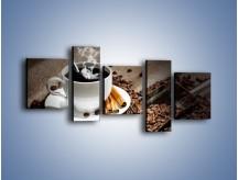 Obraz na płótnie – Czarna palona kawa – pięcioczęściowy JN311W7