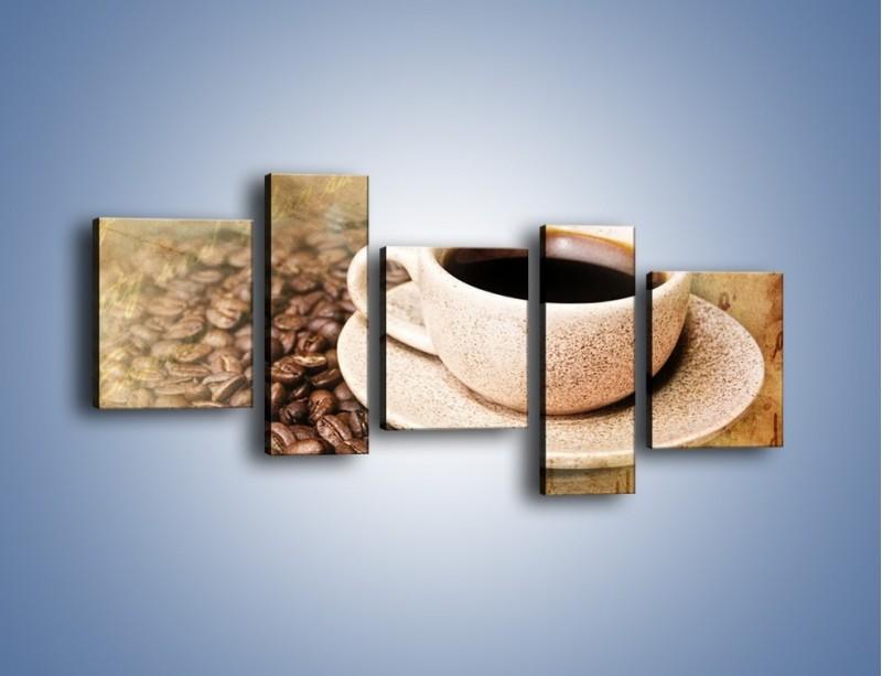 Obraz na płótnie – List przy filiżance kawy – pięcioczęściowy JN347W7