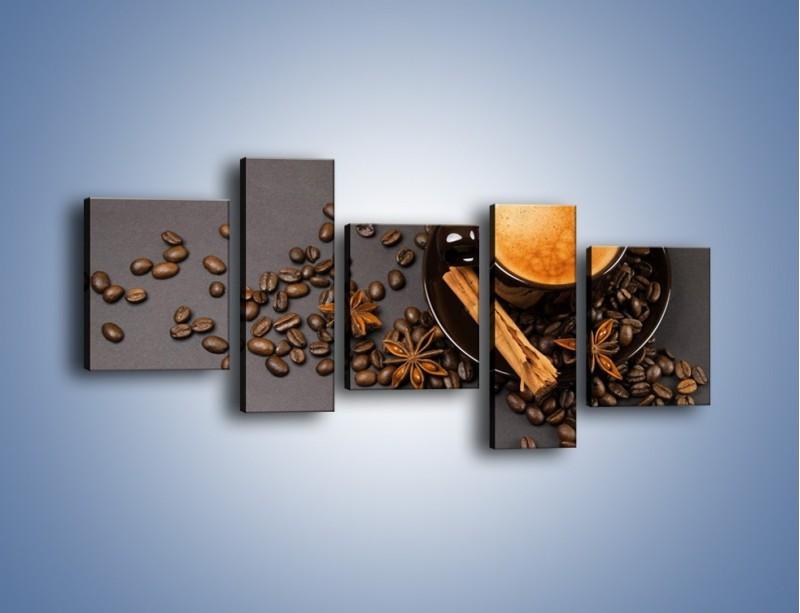 Obraz na płótnie – Kawa z goździkiem – pięcioczęściowy JN349W7