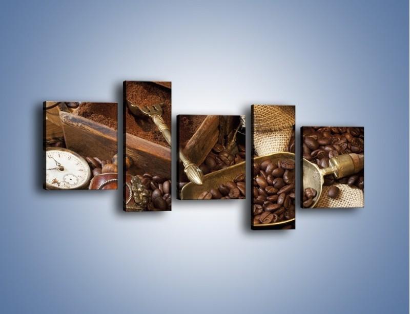 Obraz na płótnie – Szuflada pełna kawy – pięcioczęściowy JN356W7