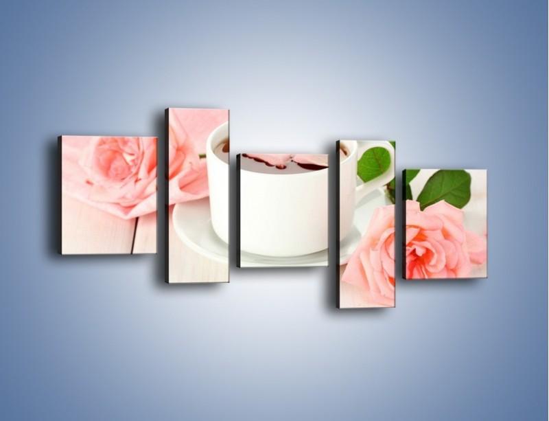 Obraz na płótnie – Herbata wśród róż – pięcioczęściowy JN369W7