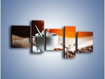 Obraz na płótnie – Aromatyczny zapach kawy – pięcioczęściowy JN374W7
