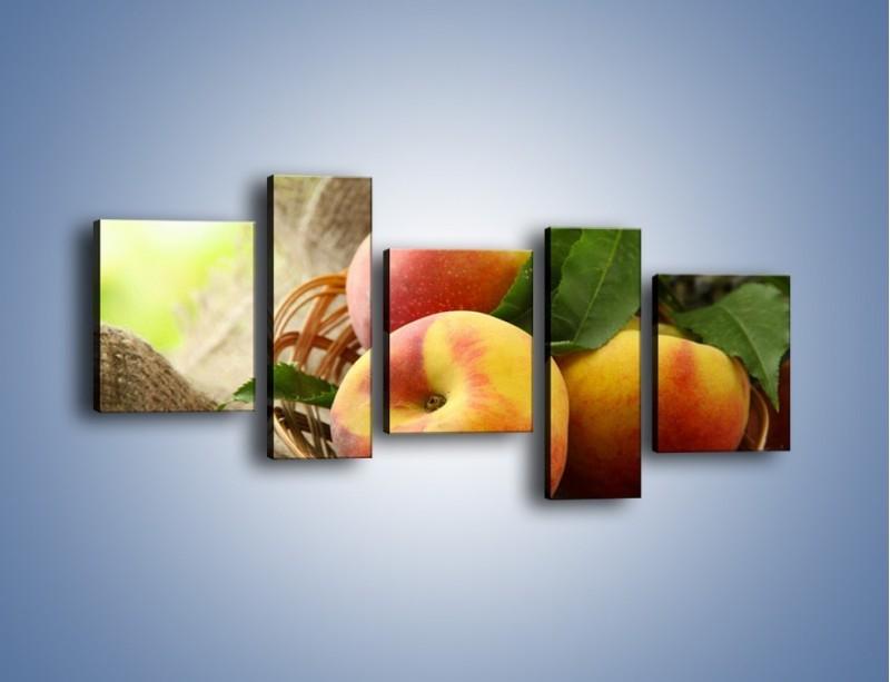 Obraz na płótnie – Dojrzałe jabłka w koszu – pięcioczęściowy JN390W7